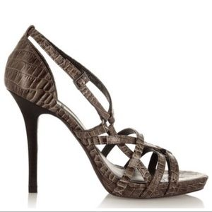 Tory Burch Elizabella Croc Heeled Sandals Heels